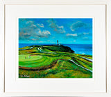 A print of a painting showing the golf links of the Old head of Kinsale Club mounted and framed
