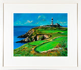 A mounted and framed print of a painting of the Lighthouse and golf links at the Old Head of Kinsale, Cork
