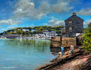 A painting of two kids with their parents searching among the rocks for crabs on the edge of Kinsale Harbour, Cork