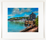 A print framed in a cream frame of a painting called Searching for Crabs, Kinsale, located in County Cork