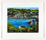 A framed print of a painting of Kinsale harbour, Co Cork
