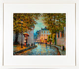 A print in a frame of a painting called Parisien Kiss which was painted in the Montmartre area of the city of Paris, France