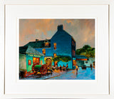 A framed print of a painting named Milk Market View showing a view of Kinsale town, County Cork, Ireland