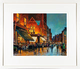 A framed limited edition print of a painting called Grogans and South William Street in Dublin city centre