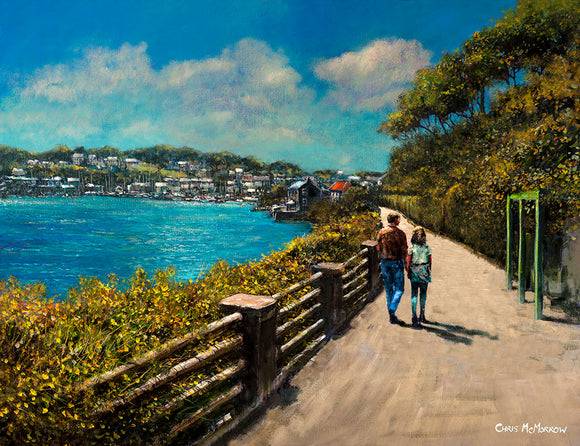 Painting of a romantic couple on the promenade at Scilly walk, Kinsale, County Cork