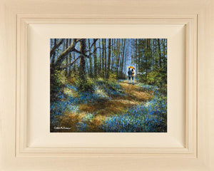 Original painting 18x14 inches canvas - 28x24 inches framed size - of a couple with an orange umbrella strolling through a bluebell wood