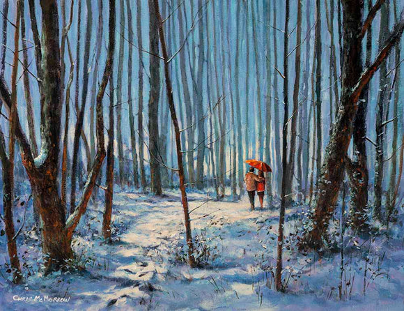 A print of a painting of a couple walking  in a snowy forest landscape