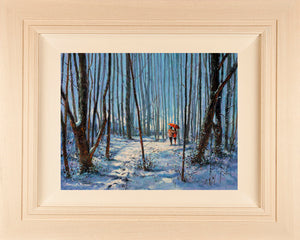Original acrylic 20x16 inch painting of a couple walking on a snowy path in the woods in winter