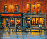 A painting of people walking by Whelans Pub on Wexford Street, Dublin