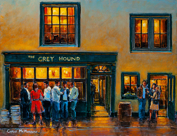 A painting of people drinking of an evening outside the Grey Hound Pub in Kinsale, Co Cork