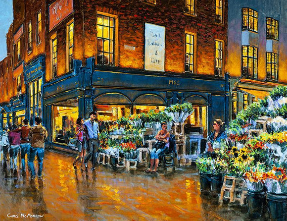 Painting of a young couple walking together at the corner where the flower sellers ply their trade on Grafton Street, Dublin