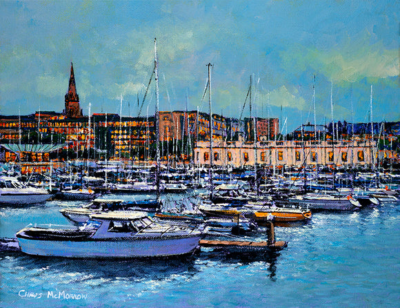 Painting of the marina in Dun Laoghaire, the Royal Irish Yacht Clubhouse in the background