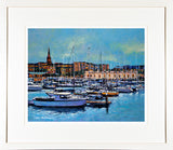 Framed print of the marina of the Royal Irish Yacht Club in Dun Laoghaire, Co Dublin