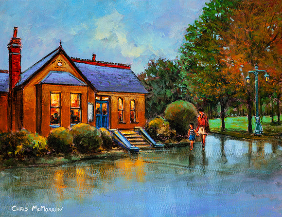 Painting of a mother and daughter being tempted by the lights of the warm inviting coffee shop in the Peoples Park, Waterford City