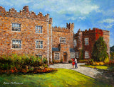 A painting of a young couple outside Waterford Castle Hotel