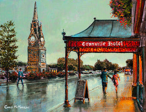 An acrylic painting of the view of the Clock Tower on Waterford City Quays from the front of the Granville Hotel