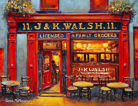 Print of a painting of the front of J&K Walsh pub in Waterford City with tables and chairs ready for customers to stop by for a pint or two.