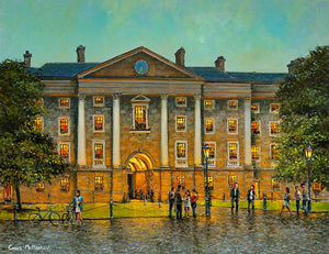 Painting of the cobblestoned front square inside Trinity College, Dublin