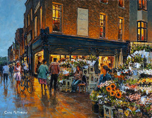 Acrylic painting of an older couple choosing which bunch of flowers to buy from the flower stall on the corner of Grafton Street and Duke Street, Dublin