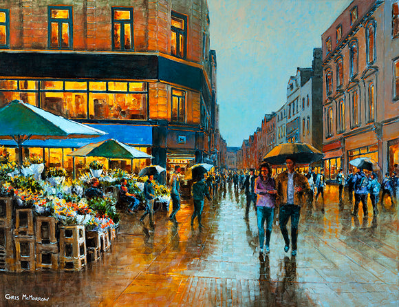 Painting of a couple arm in arm under an umbrella by the flower sellers on Grafton Street, Dublin