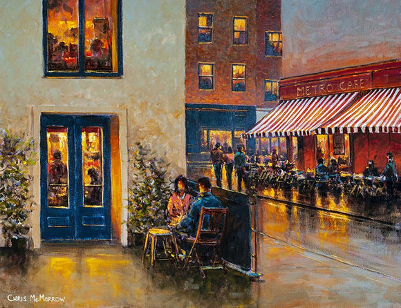 Painting of a young couple dining al fresco in the early evening lights of Dublin