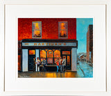 PA framed print of a painting of Hartigans of Leeson Street in the early evening