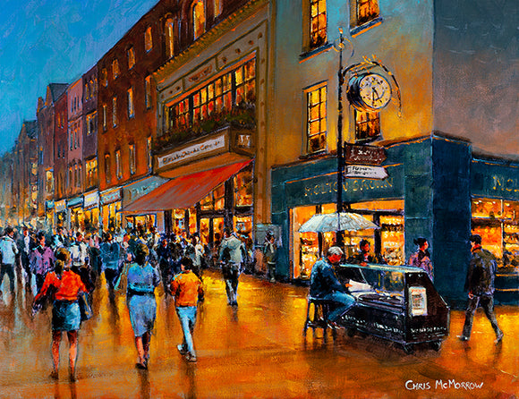 Painting of the last newspaper seller stand on Grafton Street, Dublin