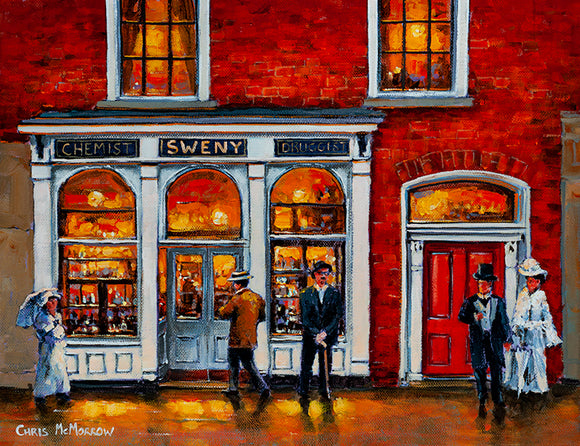 Painting of James Joyce standing outside Swenys Pharmacy on Lincoln Place , Dublin
