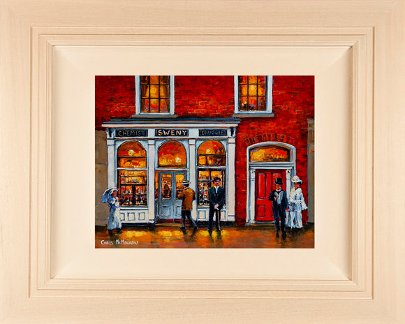 Original framed 12x10 inch canvas of James Joyce standing outside Swenys Chemist, Dublin