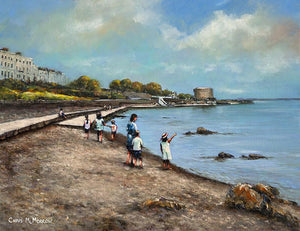 Painting of a young family by the waters edge at high tide in Seapoint, Co Dublin