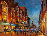 Painting of Henry Street, Dublin, including Arnotts, on a late evening