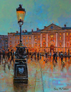 Painting featuring an ornate lamppost in front of Trinity on College Green, Dublin