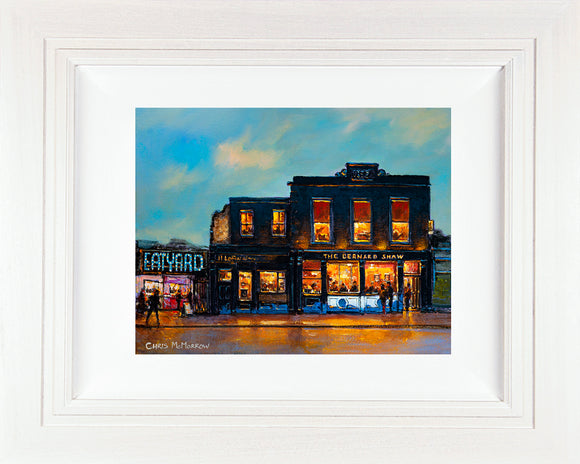 Original framed a12x10 inch canvas crylic painting  of the Bernard Shaw Pub and Eatyard formerly in Portobello, Dublin