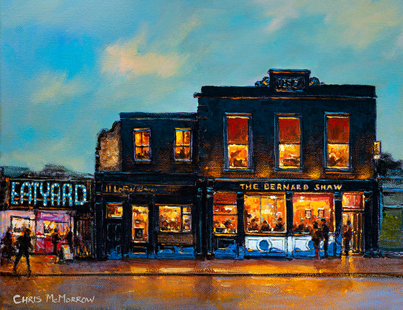 Painting of the Bernard Shaw pub and adjacent Eatyard