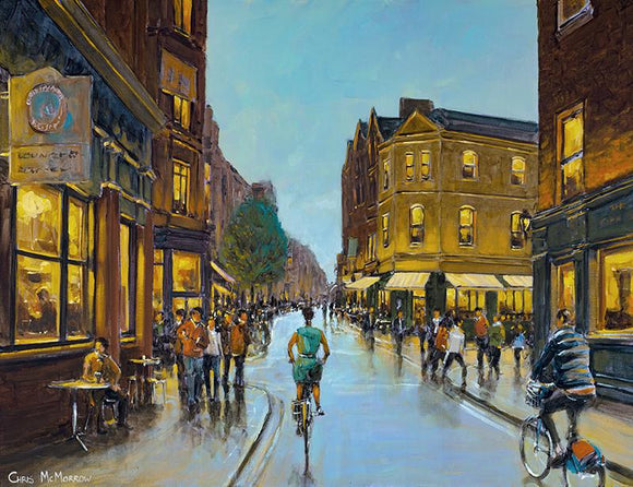 Acrylic painting of cyclists and people at this busy Dublin intersection