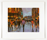 A framed print of a painting called Grafton Blue inspired by Grafton Street, Dublin, Ireland