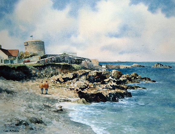 A watercolour painting of the James Joyce Tower and Museum at the Forty Foot, Sandycove
