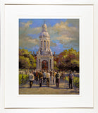 Print of a painting of the Campanile belltower` in the Main Square of Trinity College, Dublin