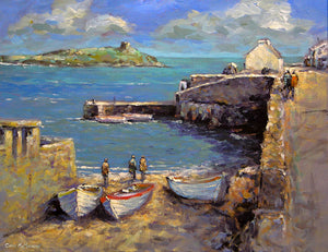 A colourful painting of Coliemore Harbour, Dalkey, in the summer sunshine