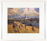Print of a painting of the pier at Dun Laoghaire on a late summer's afternoon