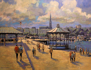 PAinting of Dun Laoghaire pier on a busy sunny Sunday