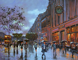 Painting of a busy O'Connell Street and Clery's Department store in the city centre