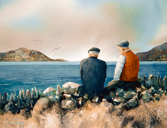 Painting of 2 old men sitting on a stone wall looking out to sea