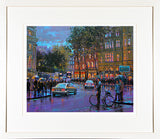 A framed print of a painting of a crowd of pedestrians at the lights in College Green, Dublin