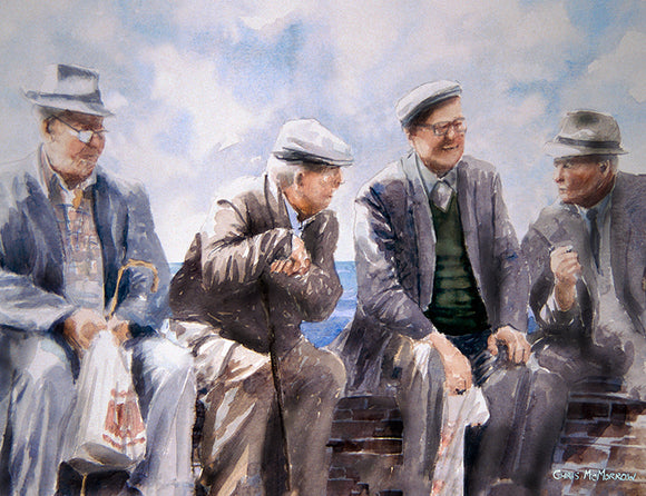 Painting of four men sitting on a wall discussing the latest gossip