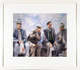 Framed print of a watercolour of four men catching up on the latest gossip