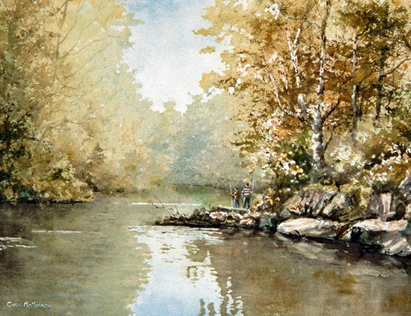 PAinting of two boys with fishing rods fishing on the River Liffey, Dublin