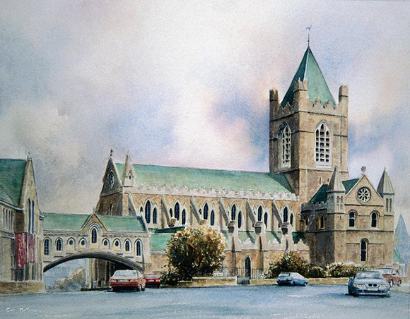 Watercolour painting of Christchurch Cathedral in Dublin city centre