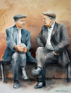Watercolour of two men sitting on a small bench talking