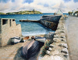 Watercolour painting looking from Coliemore HArbour towards Dalkey Island, Dublin